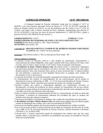 LICENÇA DE OPERAÇÃO LO N° 5501/2004-DL - Fepam