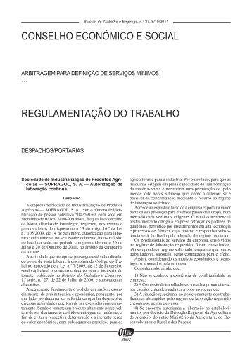 BOLETIM DO TRABALHO E EMPREGO 37/2011 - ANBP