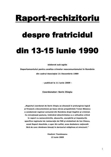 Raport rechizitoriu despre fratricidul din 13-15 iunie 1990