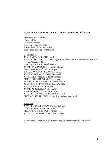 1 ACTA DE LA SESSIÓ DEL PLE DE L'AJUNTAMENT DE ...