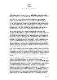 Akquisition Formia Guest Supplies Ldt. Hongkong - ADA Cosmetics ...