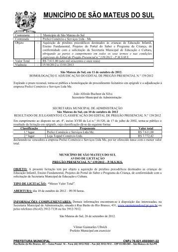 Pregao Presencial nº 139-2012-Aquisicao de pirulitos - Prefeitura ...