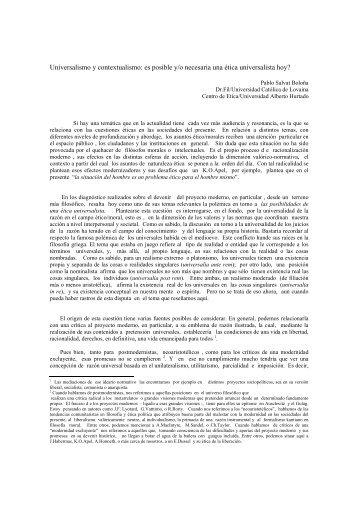 Universalismo y contextualismo - Universidad Alberto Hurtado