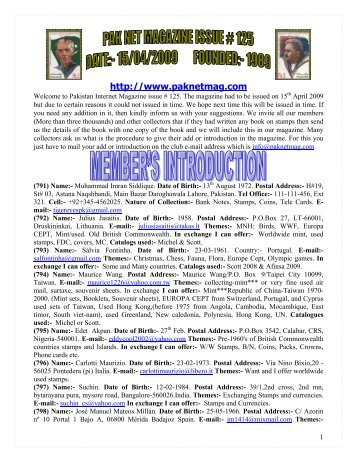 April 09 - Pakistan Philatelic Club