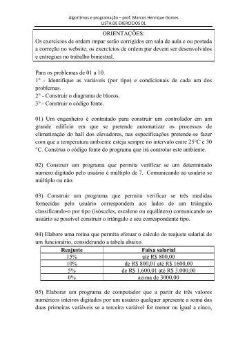 lista02 - Prof. Marcos H. Gomes