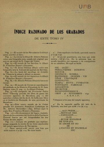 ÍNDICE RAZONADO DE LOS GRABADOS