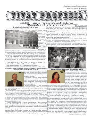 VIVAT PROFESIA – aprilie 2012 - Scoala Profesionala Nr. 1 Cahul