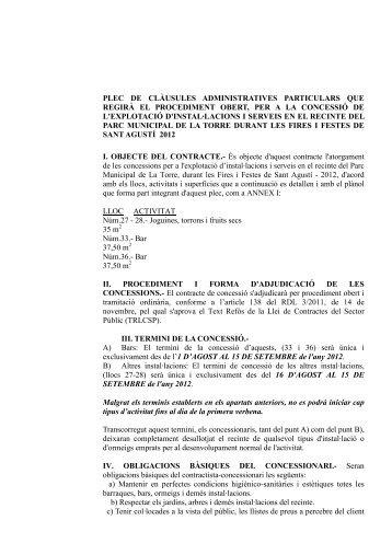plec de clàusules administratives particulars que regirà el ...