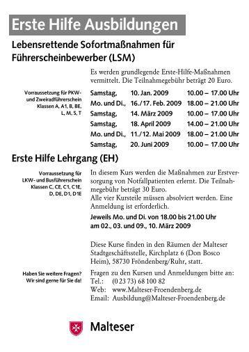 LSM Kurse 1. Halbjahr 2009 - Malteser Fröndenberg