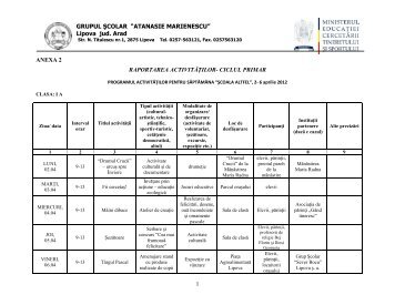 Program SCOALA ALTFEL 2012 - PRIMAR - GSAM