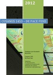 CUSANUS 1453 - DE PACE FIDEI : Gedanken zum ... - Mana Binz