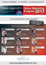 Online Marketing Kongress - Management Forum der Verlagsgruppe ...