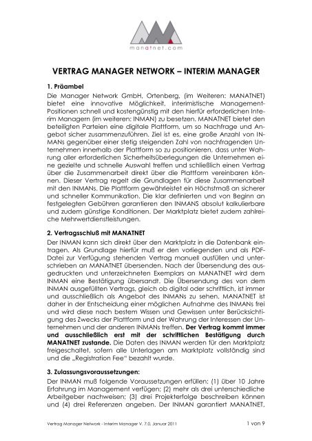 Vertrag Manager Network â Interim Manager Manatnet