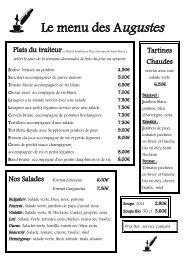 Le menu des Augustes - Cafe-lecture