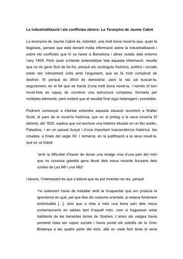 La industrialització i els conflictes obrers: La Teranyina de Jaume ...