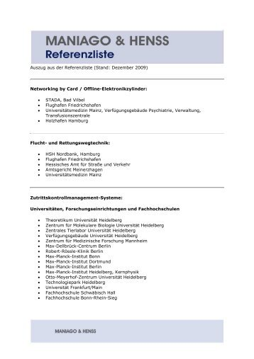 Auszug aus der Referenzliste (Stand: Dezember 2009) Networking ...