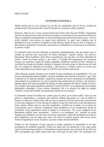 Economia Ecològica. Joan Surroca. Maig 2009 - Cilma
