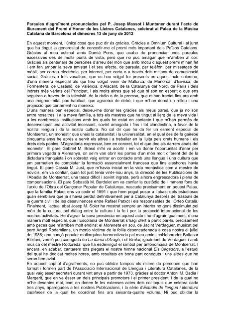 Paraules d'agraïment pronunciades pel P. Josep Massot i Muntaner