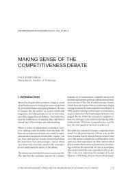 MAKING SENSE OF THE COMPETITIVENESS DEBATE