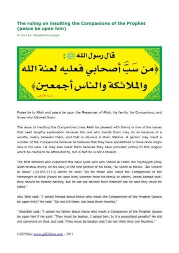 The ruling on insulting the Companions of the Prophet ... - Gift2shias