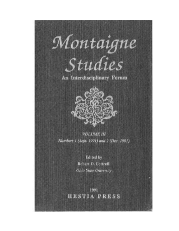 The University of - Montaigne Studies - University of Chicago