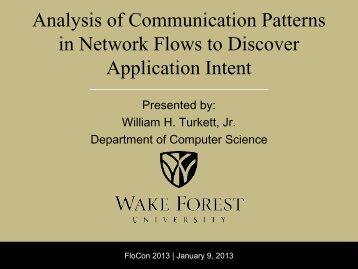 Analysis of Communication Patterns in Network Flows to ... - CERT