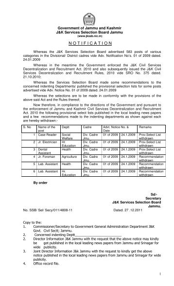 Advertisement Notice No. 02 of 2011 - J&K Services Selection Board