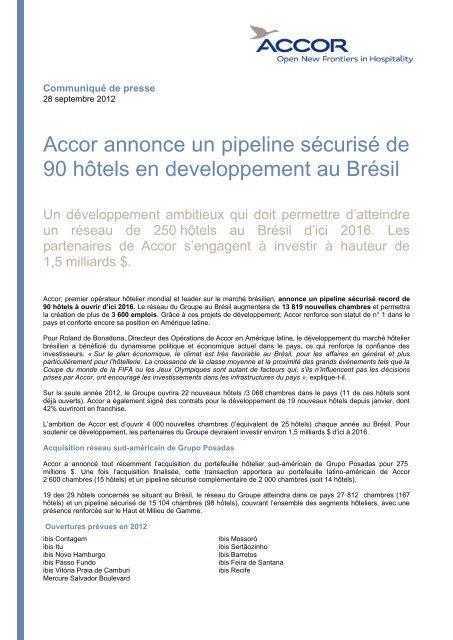 Accor annonce un pipeline sécurisé de 90 hôtels en developpement ...