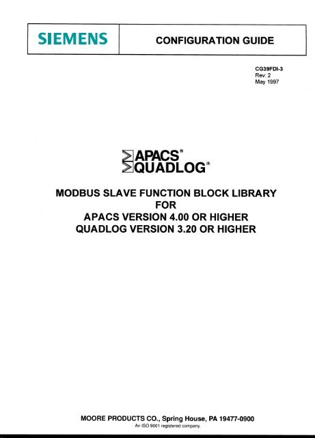 CG39FDI-3r2: MODBUS Slave FB Library - Siemens