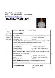 CV Liviu Maruia - Facultatea de Litere, Istorie şi Teologie