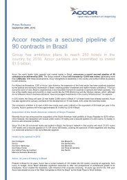 Accor reaches a secured pipeline of 90 contracts in Brazil