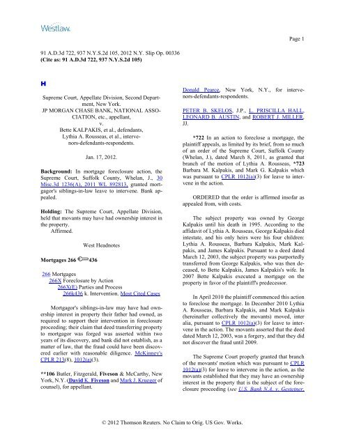 JP Morgan Chase vs  Bette Kalpakis - Bffmlaw com