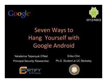 seven ways to hang yourself with google android - Computer ...