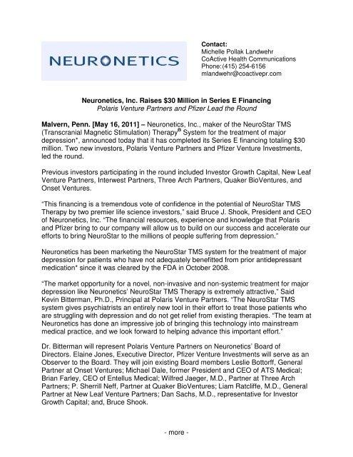 Neuronetics, Inc  Raises $30 Million in Series E Financing Polaris