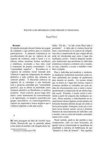 Política de Minorias: Comunidade e cidadania - LabCom - UBI