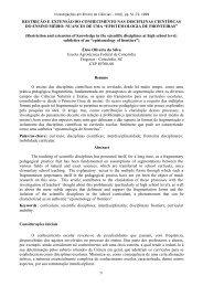 Restrição e extensão do conhecimento nas disciplinas científicas