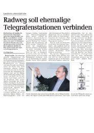 Radweg soll ehemalige Telegrafenstationen verbinden