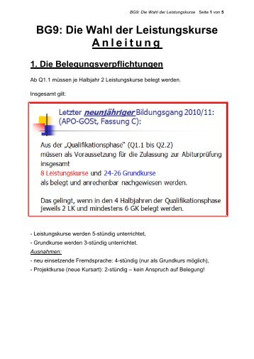 BG9: Die Wahl der Leistungskurse Anleitung - Marienschule Krefeld