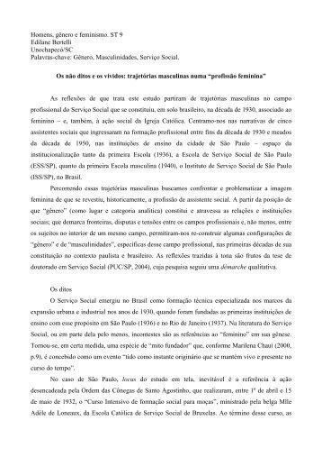 Homens, gênero e feminismo. ST 9 Edilane Bertelli Unochapecó/SC ...