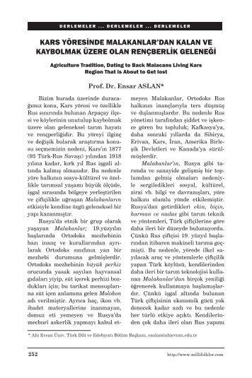 Kars Yöresinde Malakanlardan Kalan ve Kaybolmak - Milli Folklor