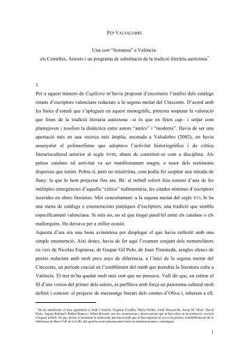 """Una cort """"ferraresa"""" a València: els Centelles, Ariosto i un ... - UdG"""