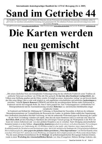 Sand im Getriebe 44 Die Karten werden neu gemischt - Attac Berlin