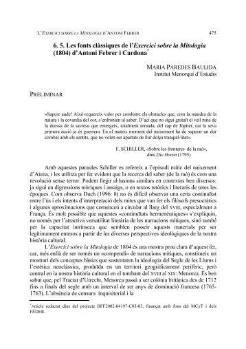 Les fonts clàssiques de l'Exercici sobre la - Universitat de Barcelona