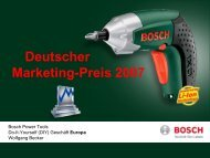 Deutscher Marketing-Preis 2007 für Bosch Power Tools