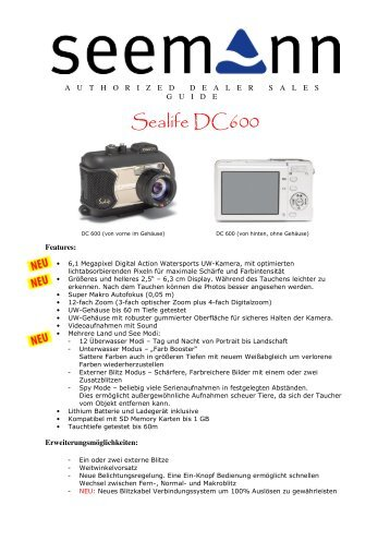 Sealife DC600 Sales Guide - Action Sport