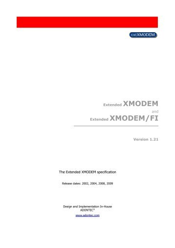 The Extended XMODEM protocol - Adontec