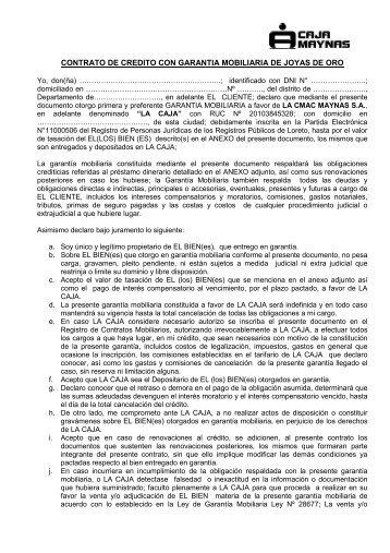 CONTRATO DE CREDITO CON GARANTIA ... - Caja Maynas