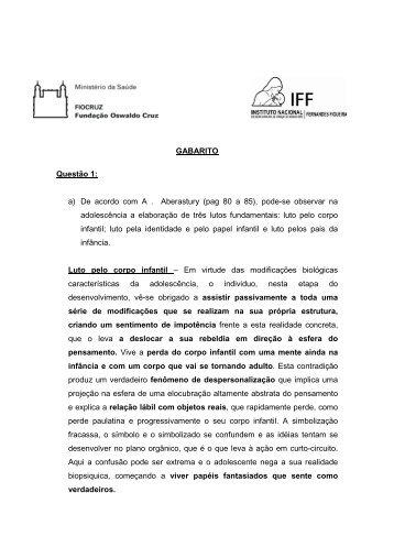 Gabarito preliminar - Plataforma Siga - Fiocruz
