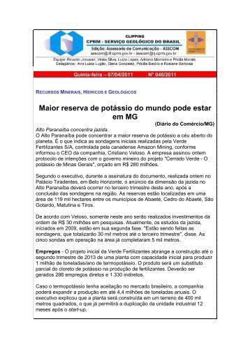 Maior reserva de potássio do mundo pode estar em MG - CPRM