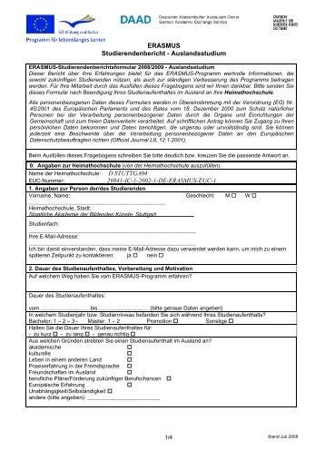 ERASMUS Studierendenbericht - Auslandsstudium